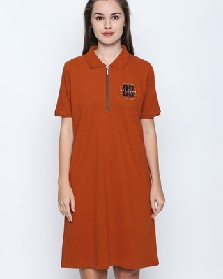 Shop Disrupt Rust Cotton Embroidered Half Sleeve Polo Dress For Women-Front