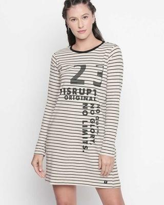 Shop Disrupt Striped Beige Dress For Women-Front