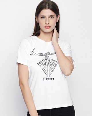 Shop Disrupt White Cotton Graphic Print Half Sleeve T-Shirt For Women's-Front