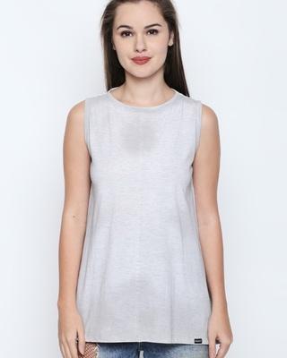 Shop Disrupt White Melange Cotton Viscose Blend Graphic Print Sleeveless T-Shirt For Women-Front