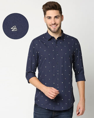 Shop Dark Blue Poplin Print Shirt-Front