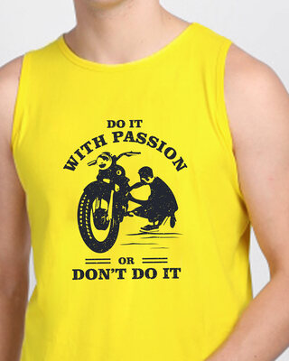 Shop Do It With Passion Round Neck Vest Pineapple Yellow -Front