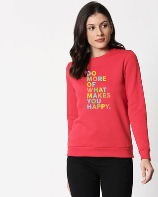 Shop Do More Of Fleece Sweater Red Melange -Front