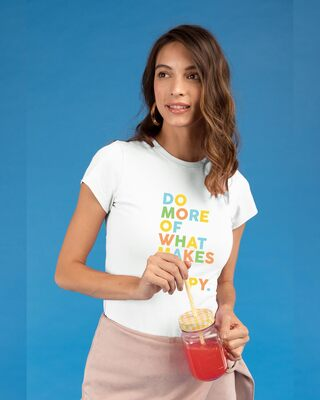 Shop Do More Of Half Sleeve Printed T-Shirt White-Front