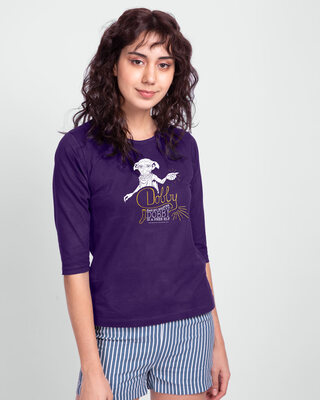 Shop Dobby Round Neck 3/4 Sleeve T-Shirts Parachute Purple (HPL) (Gold Print)-Front