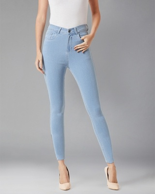 Shop DOLCE CRUDO Can't Have Just One Zipper High Waist Denim Pant-Front