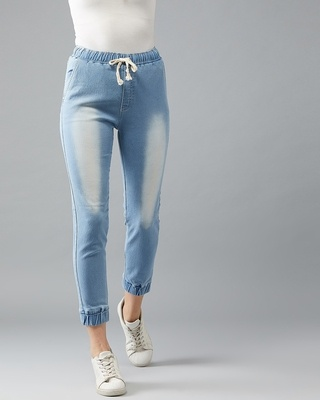 Shop DOLCE CRUDO Just The Right Madness Denim Jogger-Front