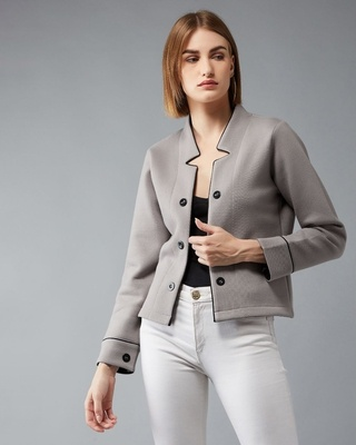 Shop DOLCE CRUDO Met An Accident Notched Jacket-Front