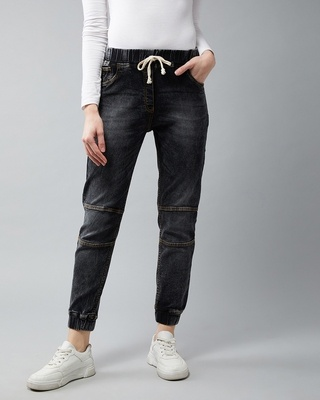 Shop DOLCE CRUDO Walk With Beauty Denim Joggers-Front