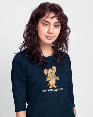 Shop Don't Care Jerry Printed Round Neck 3/4th Sleeve T-Shirt (TJL) Navy Blue-Front