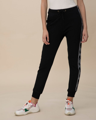 Shop Don't Care Fleece Sports Trim Joggers-Front