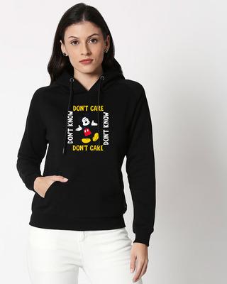Shop Don't Care Mickey Sweatshirt Hoodie (DL) Black-Front