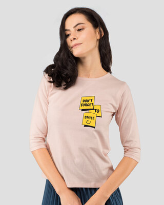 Shop Don't Forget To Smile Round Neck 3/4th Sleeve T-Shirt-Front