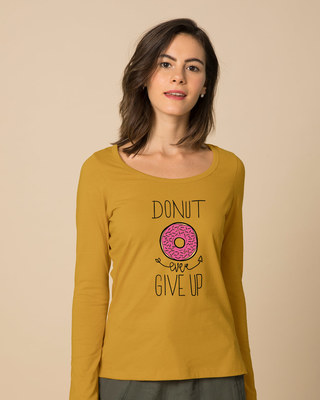 Shop Don't Give Up Scoop Neck Full Sleeve T-Shirt-Front