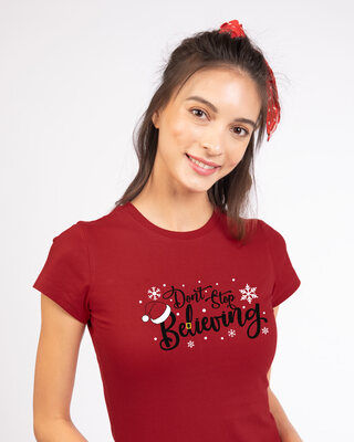Shop Don't Stop Believing Half Sleeve T-Shirt-Front