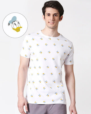 Shop Donald Duck (DL) Half Sleeves AOP T-Shirt-Front