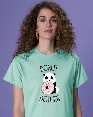 Shop Donut Disturb Panda Boyfriend T-Shirt-Front