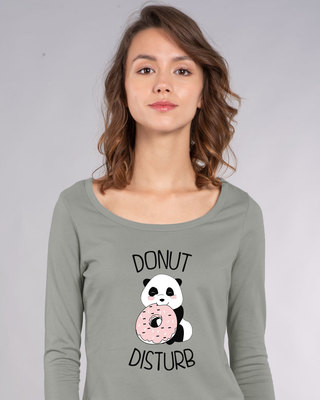 Shop Donut Disturb Panda Scoop Neck Full Sleeve T-Shirt-Front