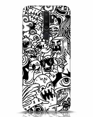 Shop Doodle Monsters Oppo A5 2020 Mobile Cover-Front
