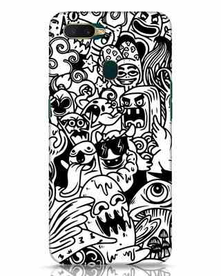 Shop Doodle Monsters Oppo A7 Mobile Cover-Front