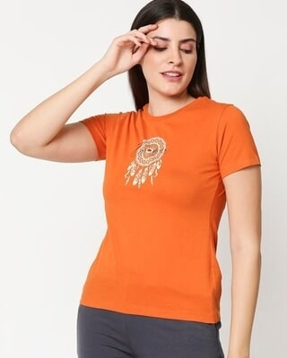 Shop Dream Catcher Womens Printed Orange Lounge T-shirt-Front