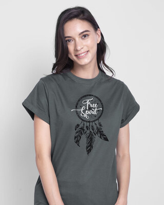 Shop Dreamcatcher Free Spirit  Boyfriend T-Shirt Nimbus Grey-Front