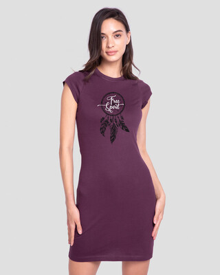 Shop Dreamcatcher Free Spirit Cap Sleeve T-Shirt Dress-Front