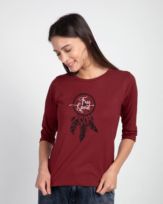 Shop Dreamcatcher Free Spirit Round Neck 3/4 Sleeve T-Shirts Scarlet Red -Front