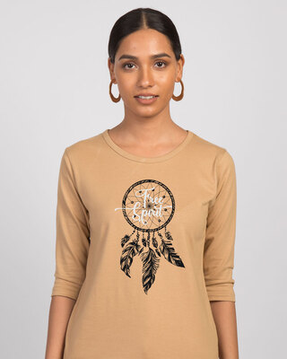 Shop Dreamcatcher Free Spirit Round Neck 3/4th Sleeve T-Shirt-Front