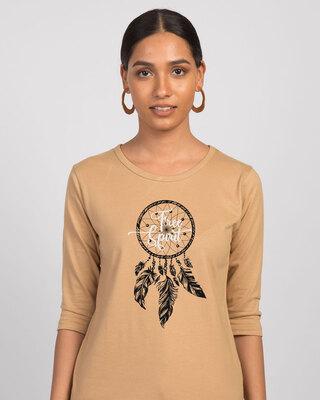 Shop Dreamcatcher Free Spirit Round Neck 3/4th Sleeve T-Shirt-Front