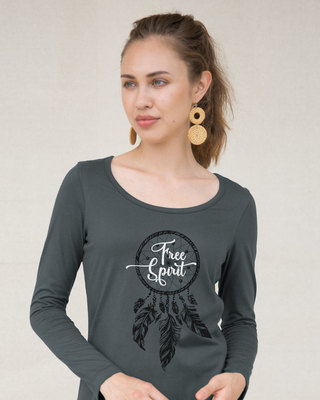 Shop Dreamcatcher Free Spirit Scoop Neck Full Sleeve T-Shirt-Front