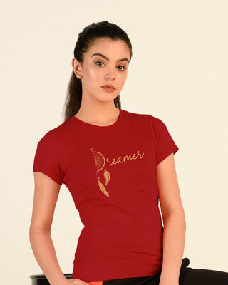 Shop Dreamer Feathers Half Sleeve Printed T-Shirt Bold Red-Front