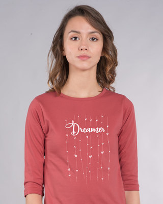 Shop Dreamer Hearts Round Neck 3/4th Sleeve T-Shirt-Front