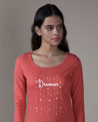 Shop Dreamer Hearts Scoop Neck Full Sleeve T-Shirt-Front
