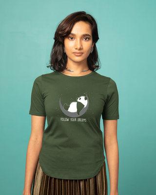 Shop Dreamy Panda Basic Round Hem T-Shirt-Front