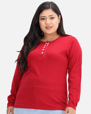 Shop DRY STATE - BEYOUND SIZE Solid Women Henley Neck Red T-Shirt-Front
