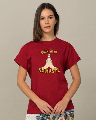 Shop Durr Se Namaste Boyfriend T-Shirt-Front