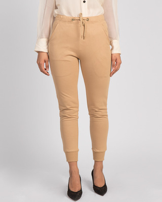 Shop Dusty Beige Casual Jogger Pants-Front