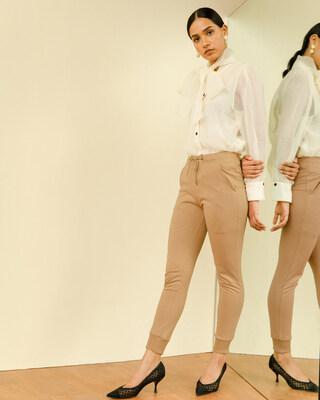 Shop Pastel Beige Casual Jogger Pants-Front