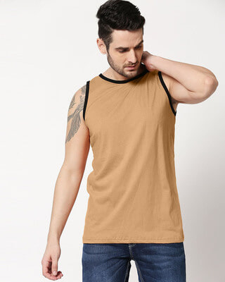 Shop Dusty Beige Contrast Binding Round Neck Vest-Front