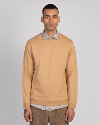 Shop Dusty Beige Fleece Sweater-Front