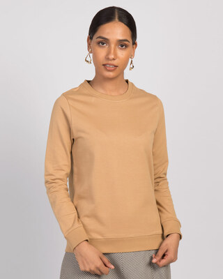 Shop Pastel Beige Fleece Light Sweatshirt-Front
