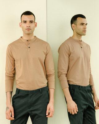 Shop Dusty Beige Full Sleeve Henley T-Shirt-Front
