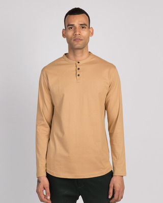 Shop Dusty Beige Full Sleeve Henley T-Shirt-Front