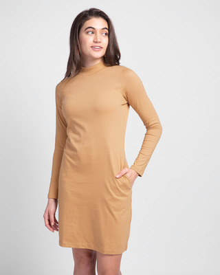 Shop Pastel Beige High Neck Pocket Dress-Front