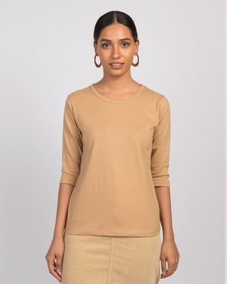 Shop Dusty Beige Round Neck 3/4th Sleeve T-Shirt-Front