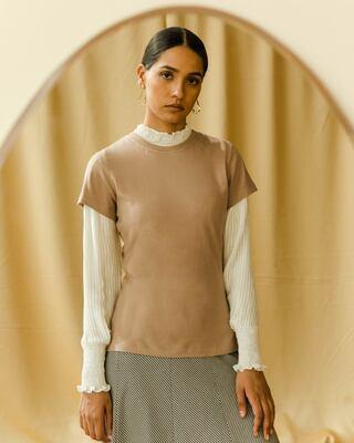 Shop Dusty Beige Half Sleeve T-Shirt-Front