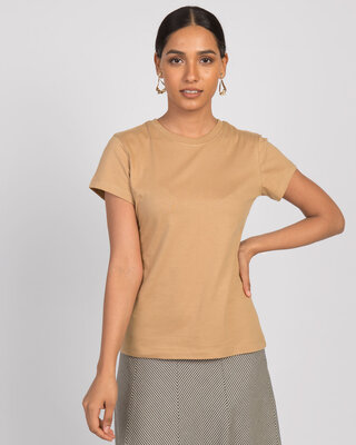 Shop Dusty Beige Half Sleeve T-Shirt-Front