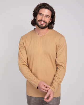 Shop Dusty Beige V-Neck Full Sleeve T-Shirt-Front
