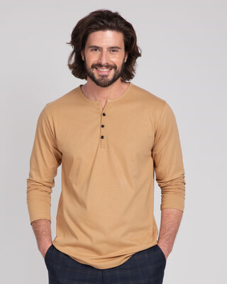Shop Dusty Beige V-Neck Henley T-Shirt-Front